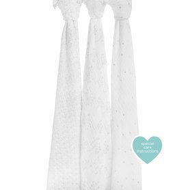 Aden + Anais Swaddle 3-pack Metallic Silver Deco