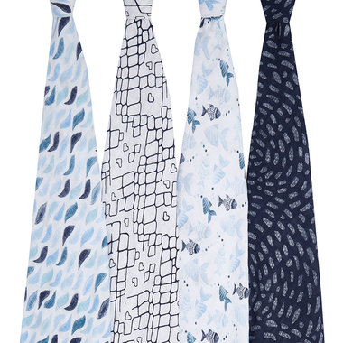 Aden + Anais Swaddle 4-pack Gone Fishing
