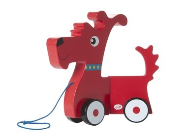 J.I.P. Wooden Toy Pul Along Doggy Red