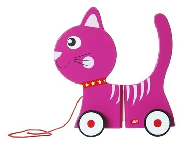 J.I.P. Wooden Toy Pul Along Kitty Pink