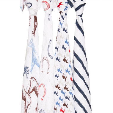Aden + Anais Swaddle 4-pack Wild Horses