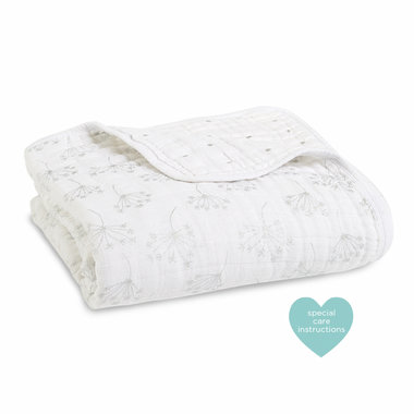 Aden + Anais Dream Blanket Metallic Silver Deco Dandelion