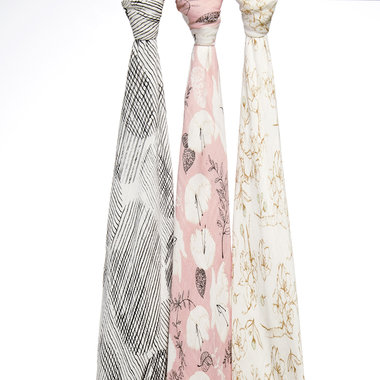 Aden + Anais Bamboo Swaddle 3-pack Pretty Petals